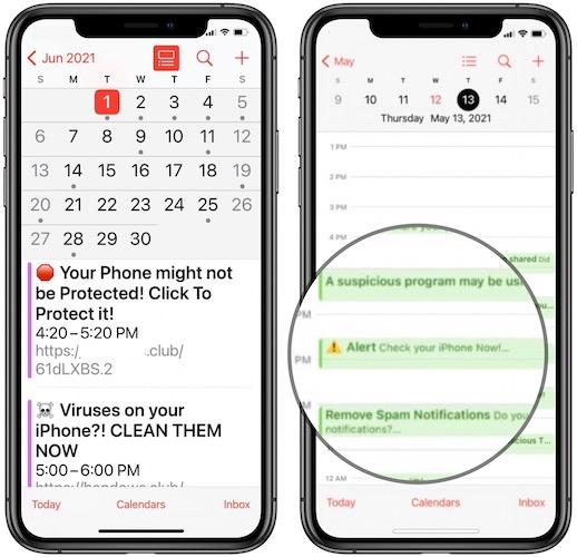 Calendar spam invitations on iPhone