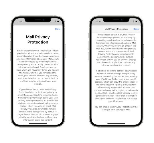 Mail Privacy Protection details