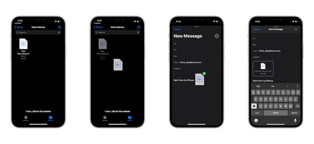 drag and drop documents on iphone