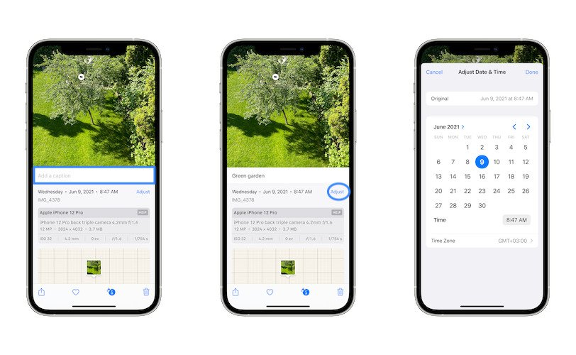 how to adjust photo date & time in iOS 15