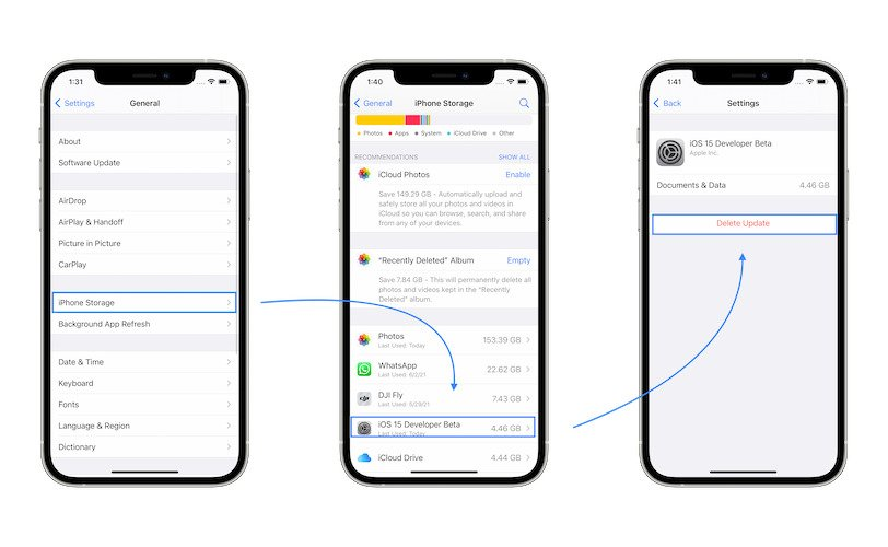 how to cancel iOS 15 Beta update