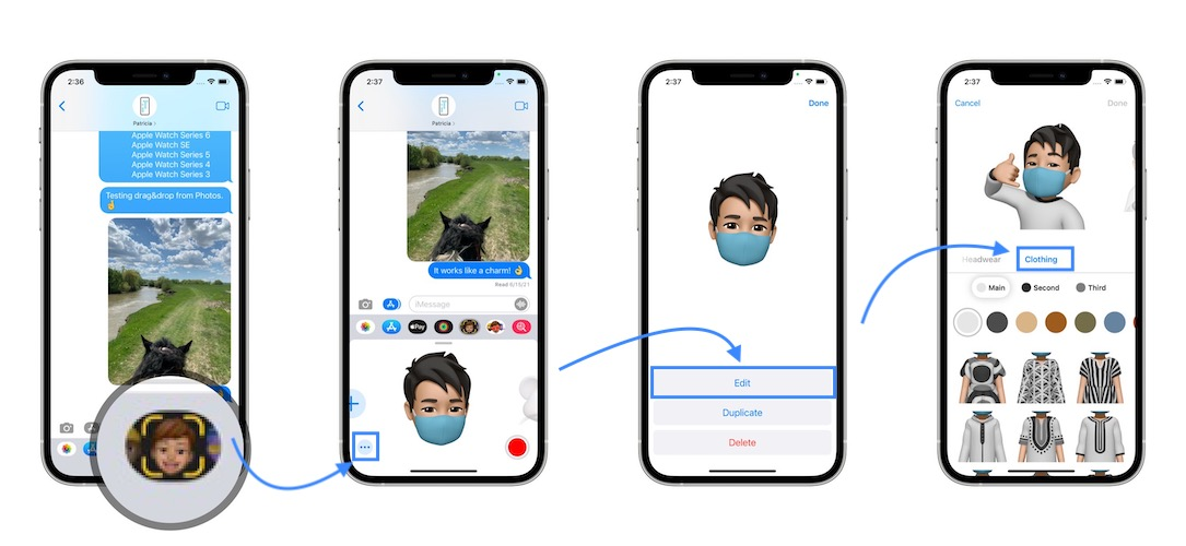 how to change memoji clothes in ios 15
