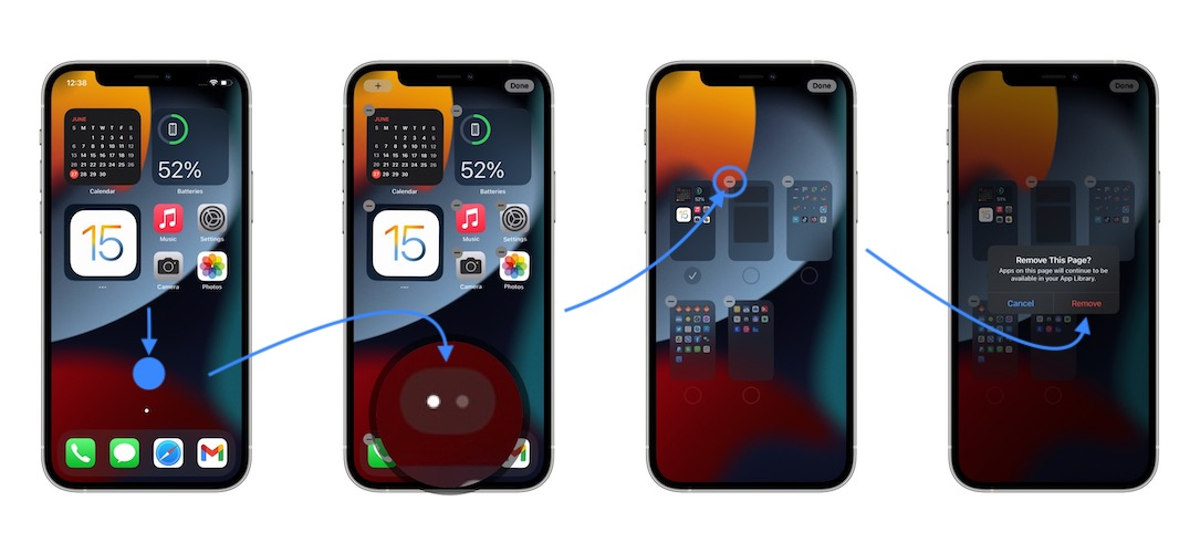 how to delete Home Screen pages on iPhone