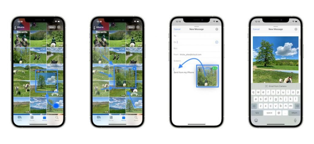 how to drag and drop multiple photos on iphone