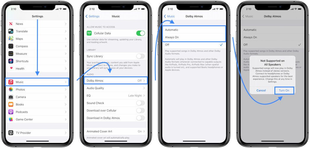 how to enable dolby atmos on iphone