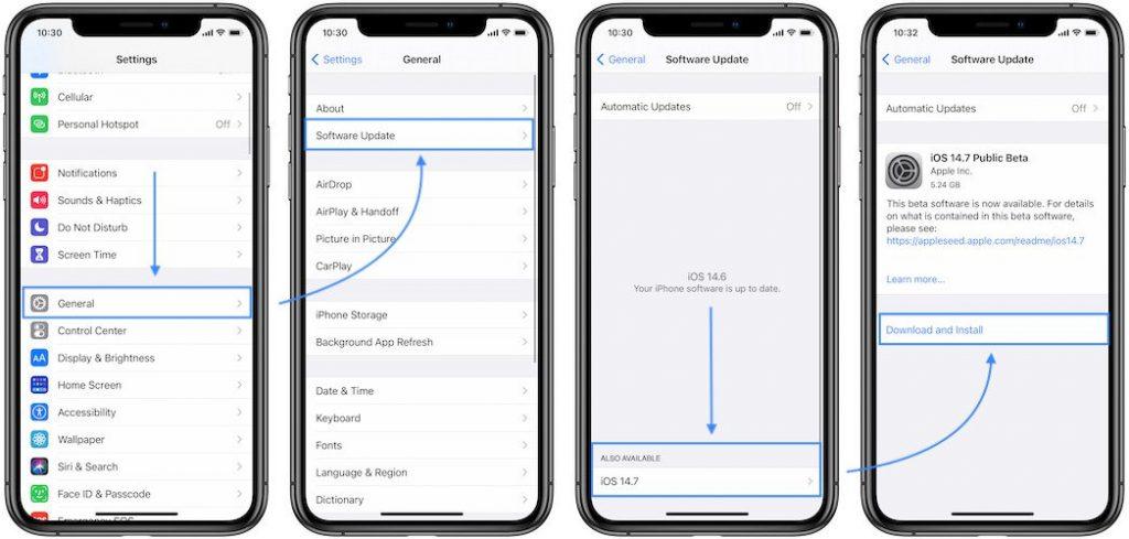 how to install iOS 14.7 Public Beta