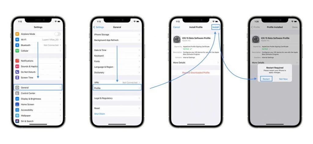 how to install iOS 15 Beta Profile