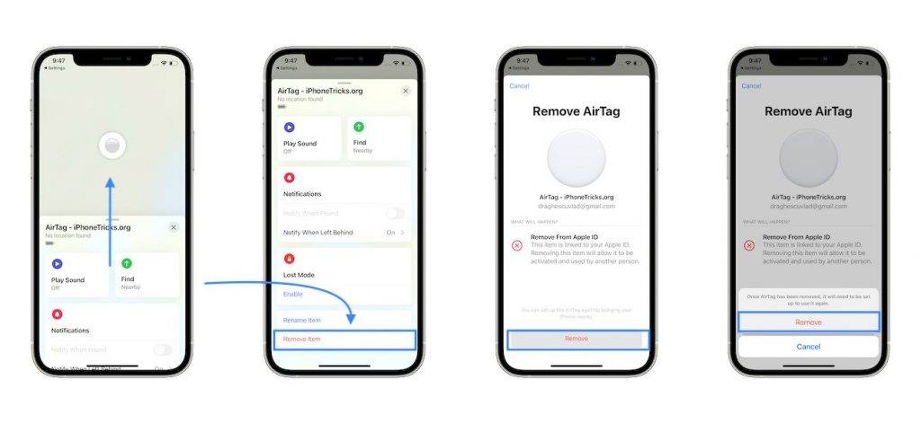how to remove AirTag from iPhone