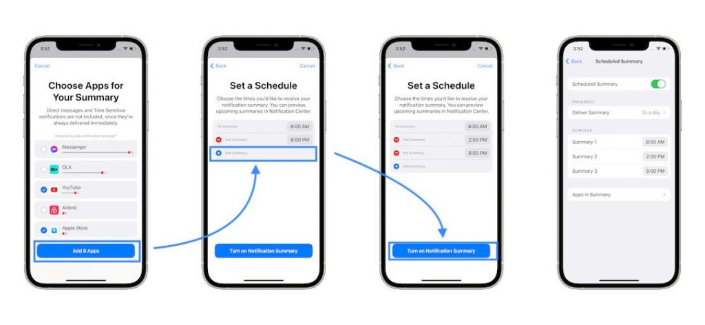 how to set up notification summary