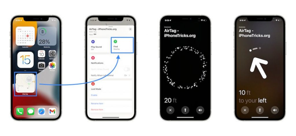 how to track AirTag on iPhone