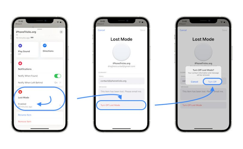 how to turn off AirTag Lost Mode