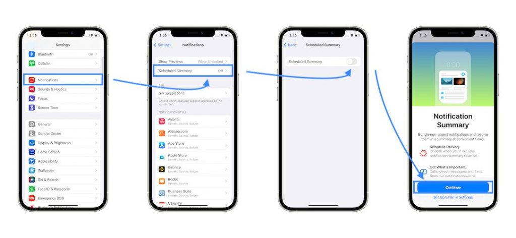 how to turn on notification summary