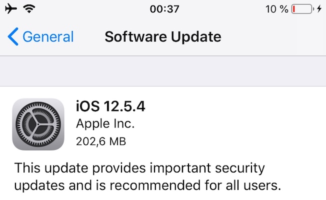 iOS 12.5.4 software update on iphone 6