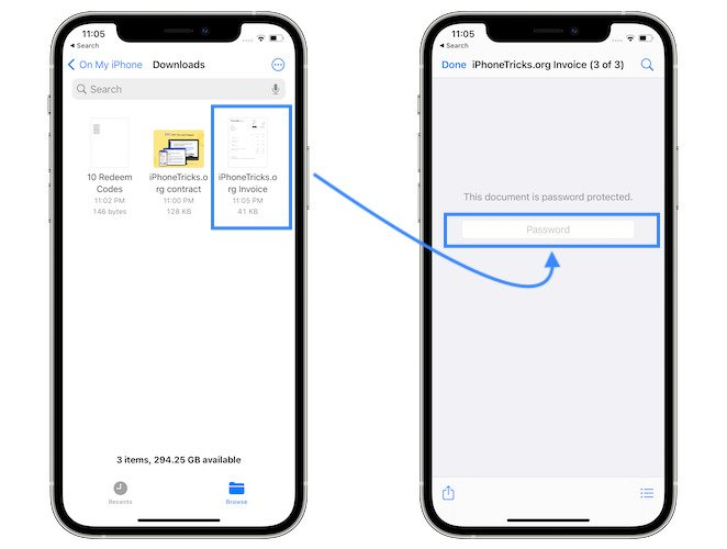 password protected PDF on iPhone