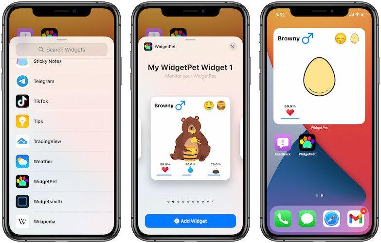 WidgetPet widget on iPhone Home Screen.