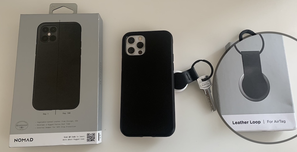 AirTag leather keychain black and iPhone 12 MagSafe case