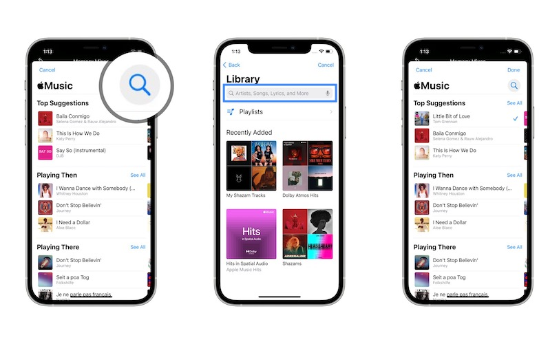 how to add song from apple music to memory