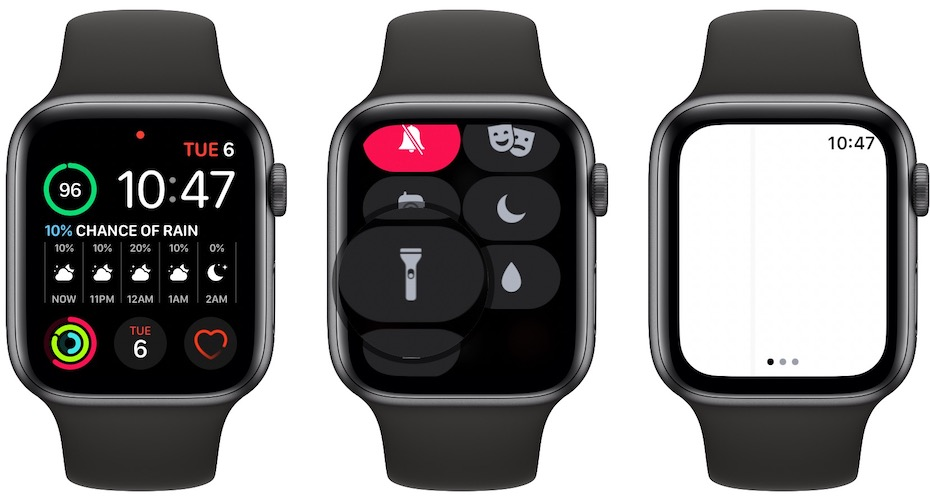 how to check Apple Watch vertical white line
