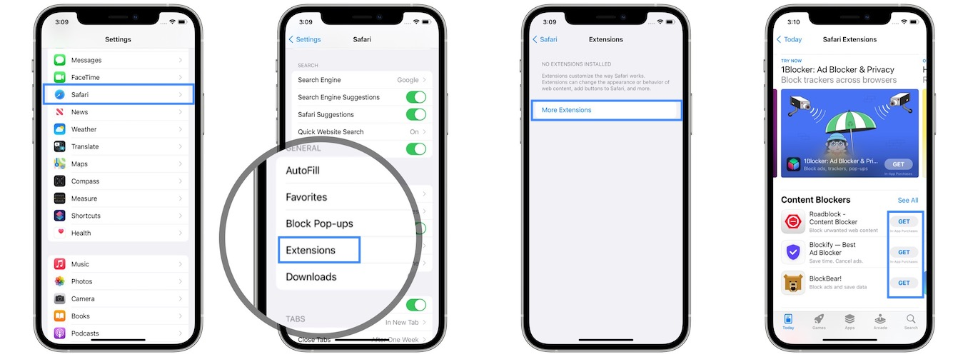 how to download Safari Extensions on iPhone