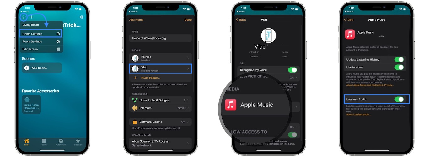 how to enable Apple Music Lossless audio on HomePod