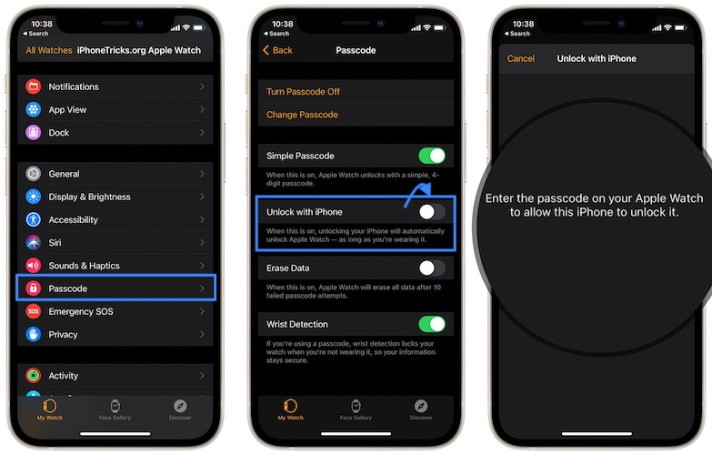 how to enable Unlock with iPhone