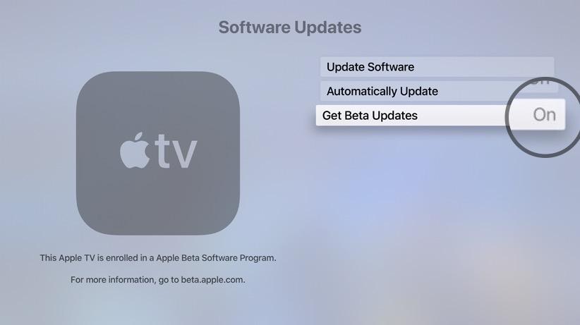 how to get beta updates on Apple TV