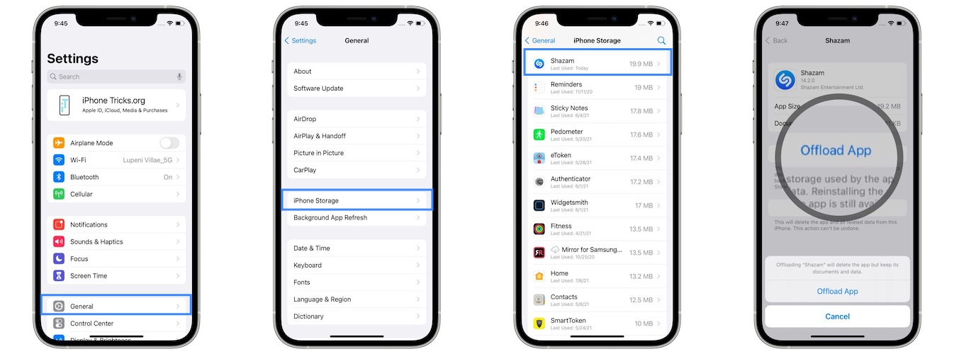 how to offload Shazam from iPhone