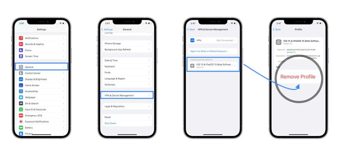 how to remove iOS 15 Developer Beta Profile