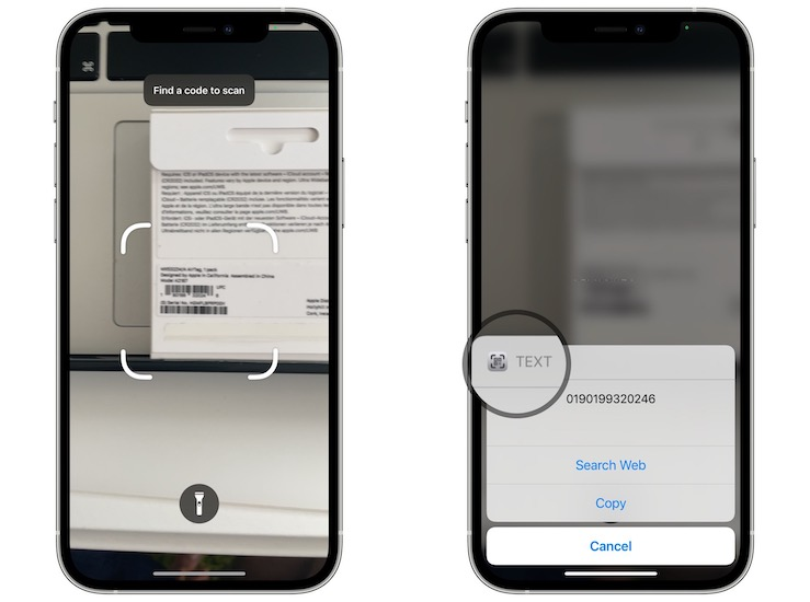how to scan barcode with iPhone iOS 15