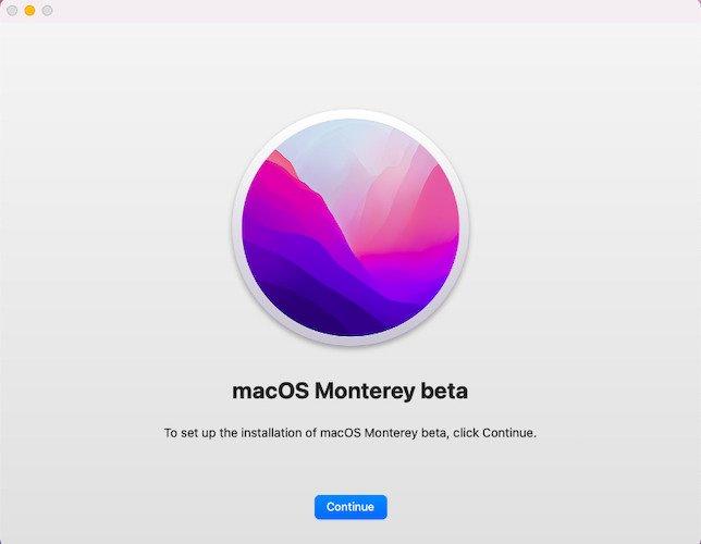 macOS Monterey beta installation
