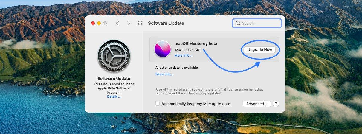 macOS Monterey beta update