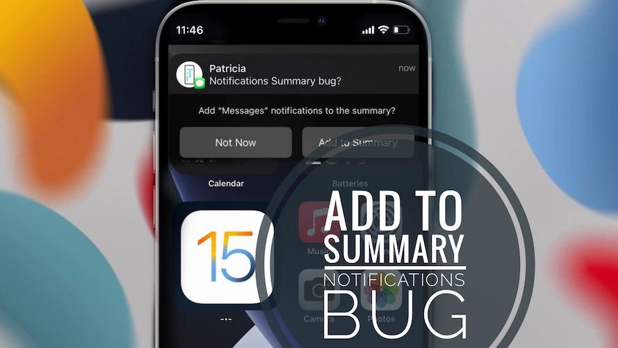 Add to Summary Notifications bug
