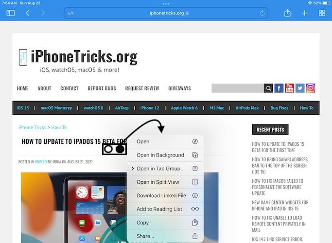 Magic Mouse right click on iPad in Safari
