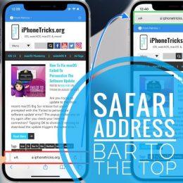 Safari address bar at the top of the screen