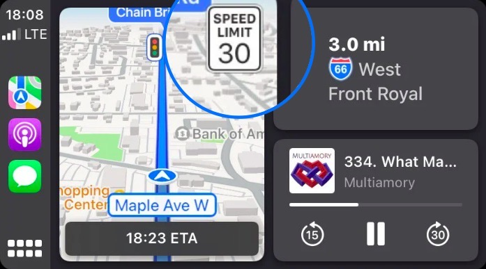Apple Maps speed limit icon in iOS 15 beta 5