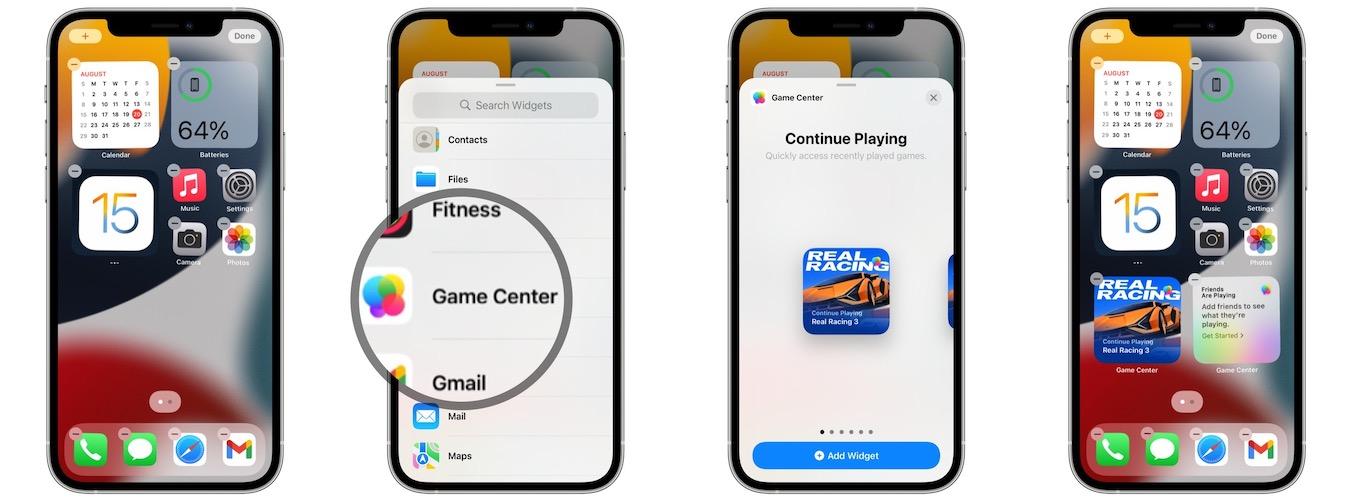 how to add Game Center widget