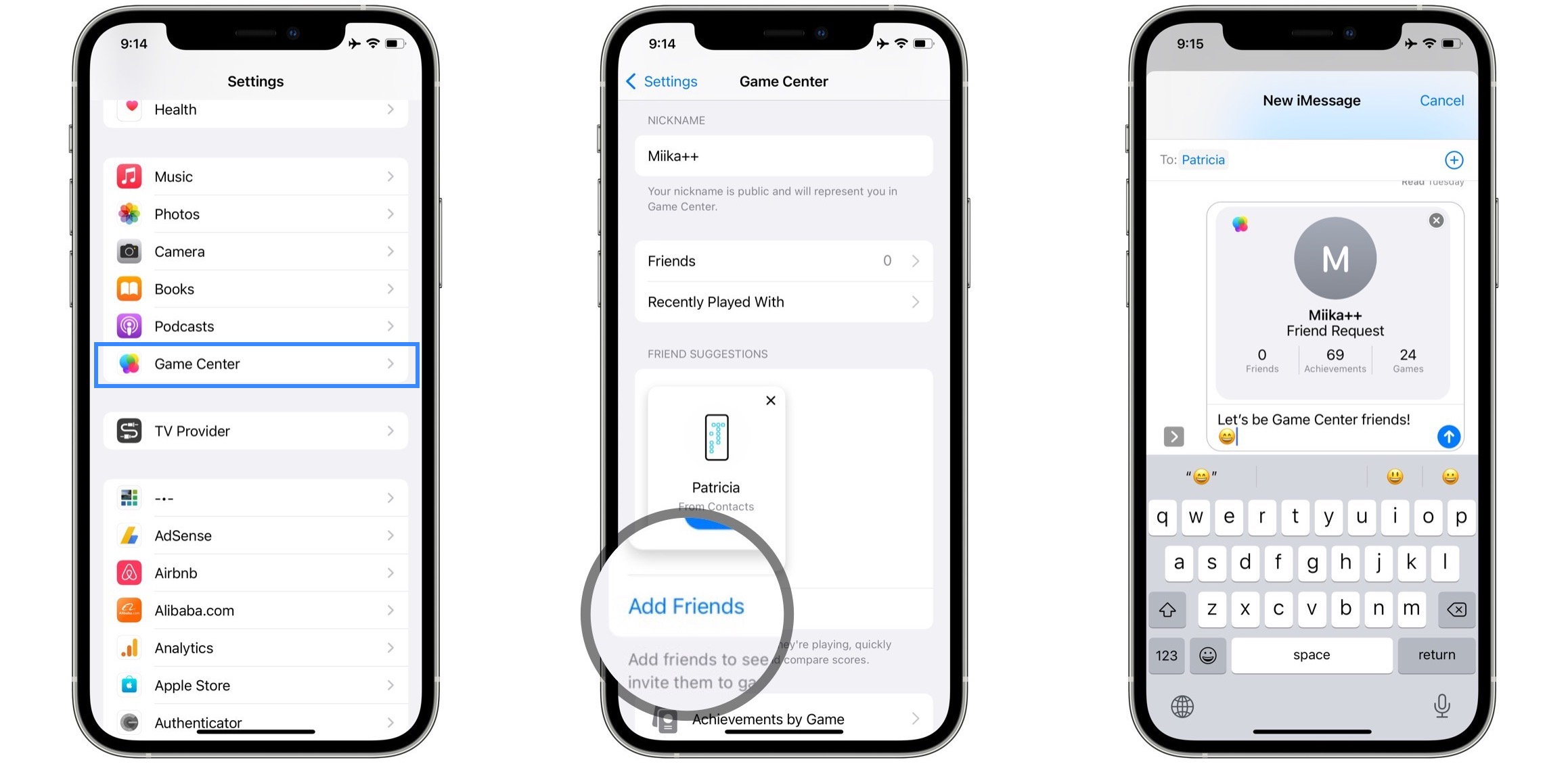 how to add game center friends