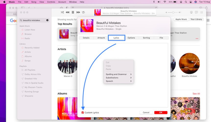 how to add lyrics to apple music song