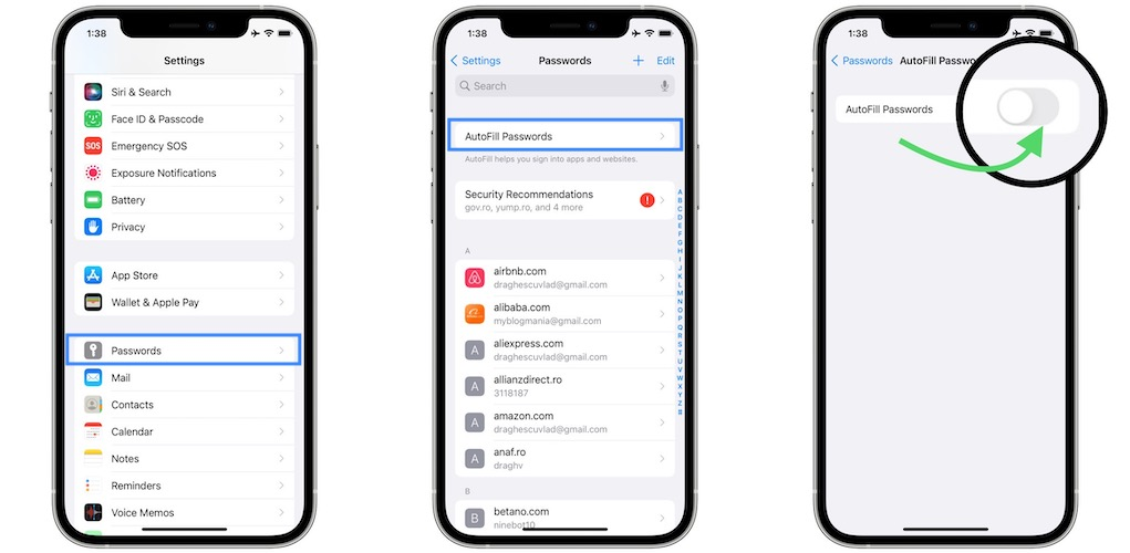 how to enable autofill passwords on iPhone