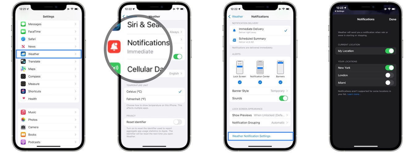 how to enable weather notifications in ios 15
