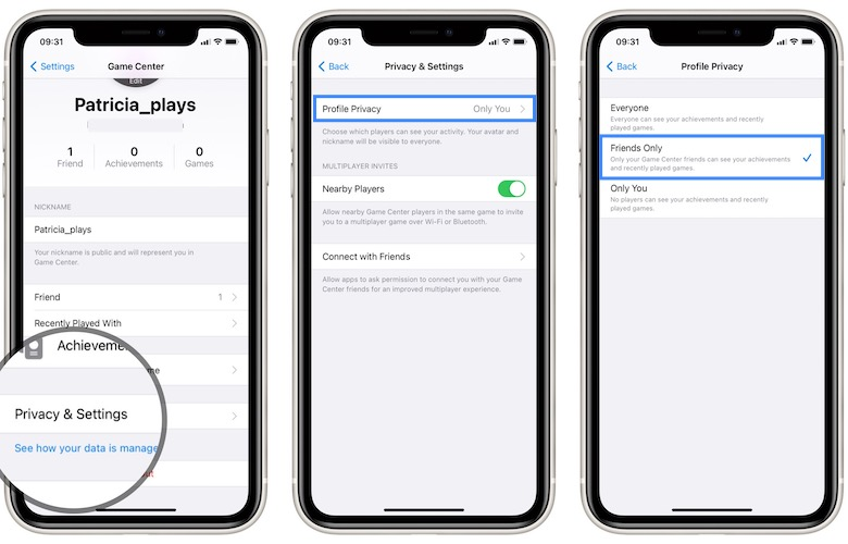 how to make game center profile public
