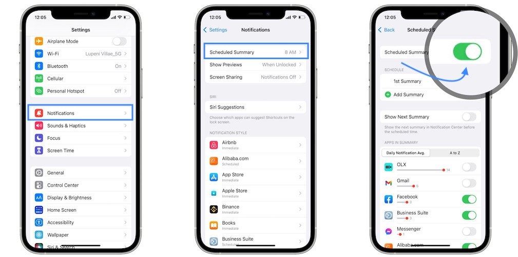 how to turn off Notifications Summary