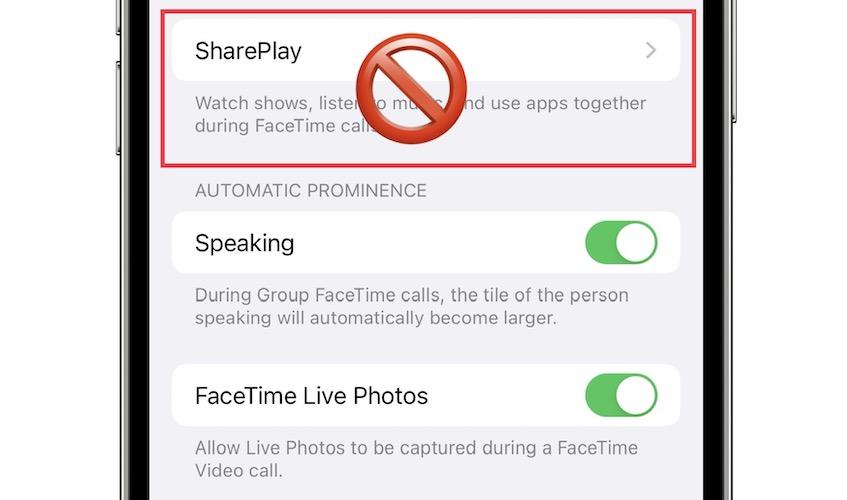 iOS 15 Beta 6 SharePlay disabled