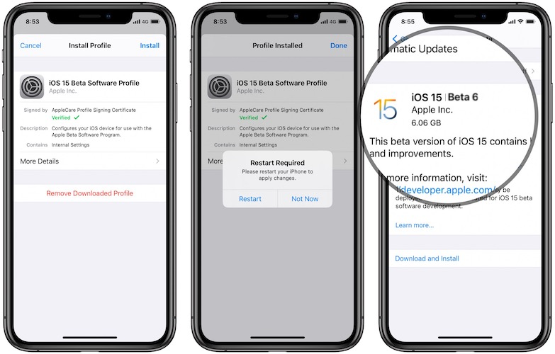 iOS 15 Beta 6 update from iOS 14.7.1