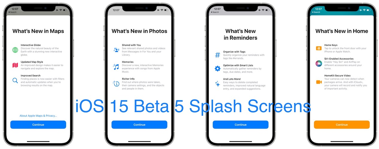 iOS 15 beta 5 new splash screens