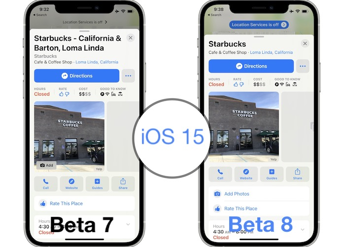 iOS 15 beta 8 changes in Maps