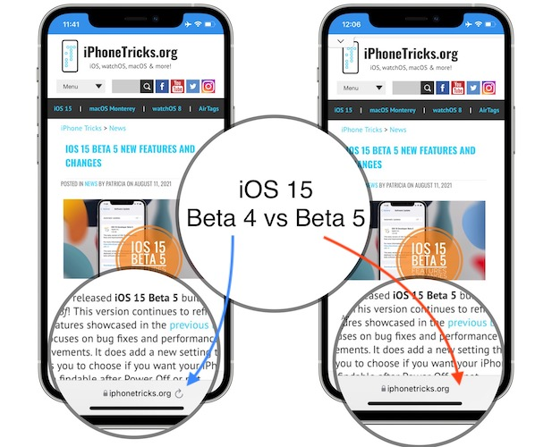 ios 15 beta 5 no safari reload button