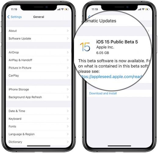 ios 15 public beta 5 download