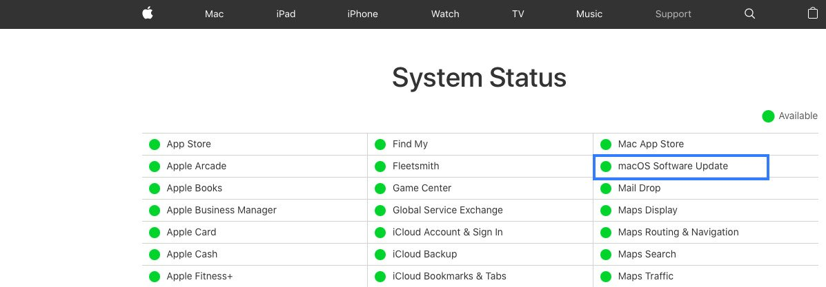 macOS Software Update system status