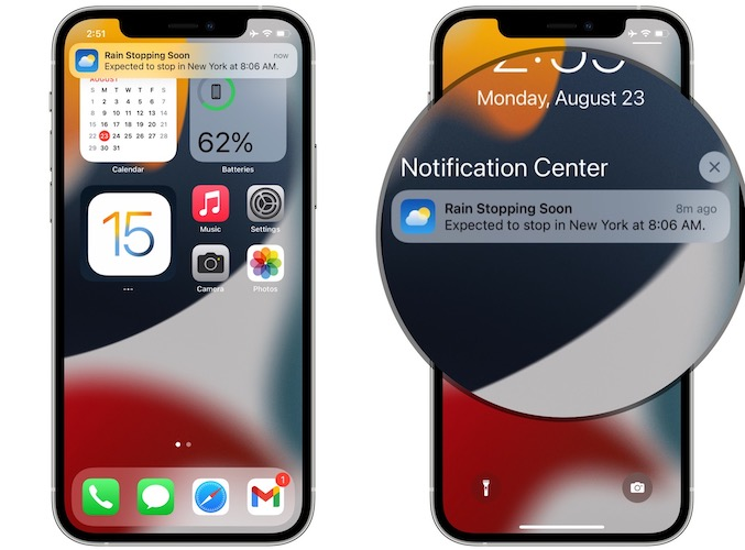 rain stopping soon weather notification in iOS 15